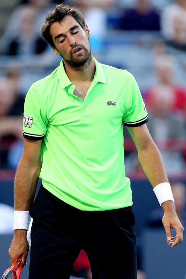 MONTREAL, QC - AUGUST 06: Jeremy Chardy of France reacts to a lost point while playing Milos Roanic of Canada during the Rogers Cup at Uniprix Stadium on August 6, 2013 in Montreal, Quebec, Canada. (Photo by Matthew Stockman/Getty Images)