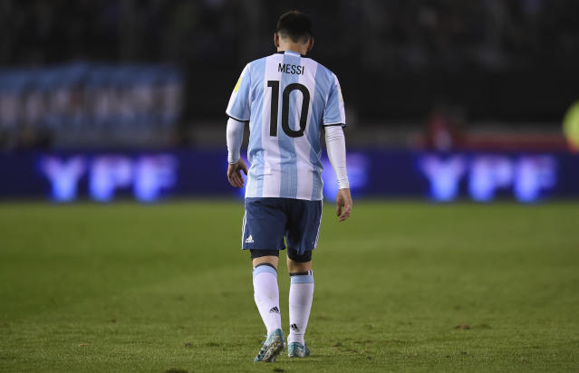 "<a class=""link rapid-noclick-resp"" href=""/soccer/players/lionel-messi/"" data-ylk=""slk:Lionel Messi"">Lionel Messi</a> and Argentina could only manage a 1-1 draw at home against Venezuela. (Getty)"