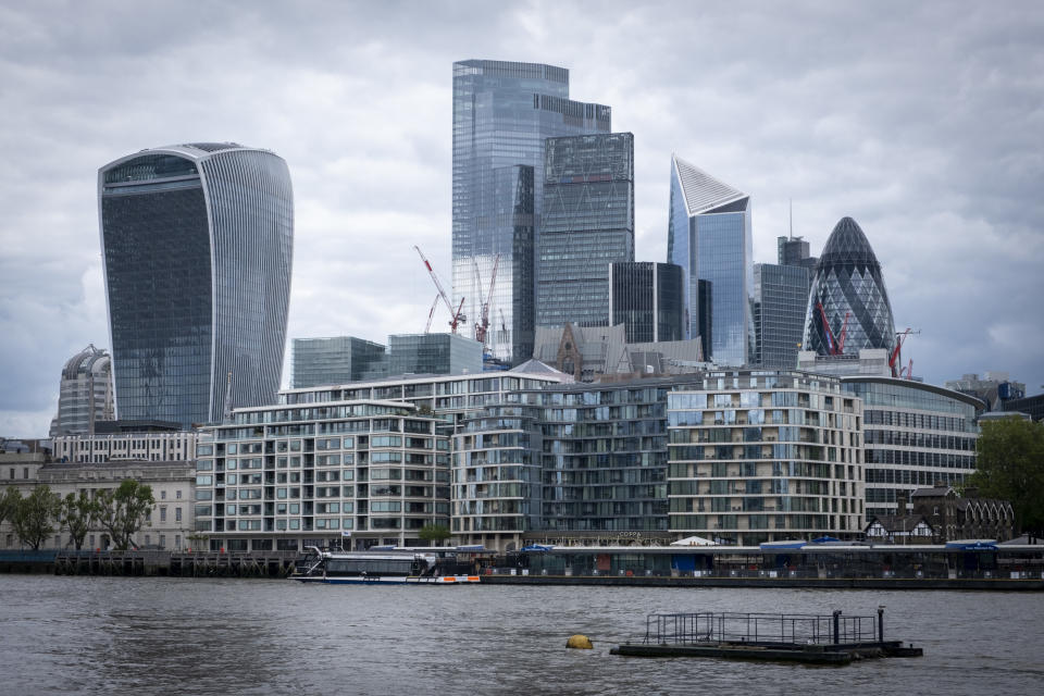 The City of London skyline from the south bank of the river Thames on the 25th of May 2021 in London, United Kingdom. (photo by Andrew Aitchison / In pictures via Getty Images)