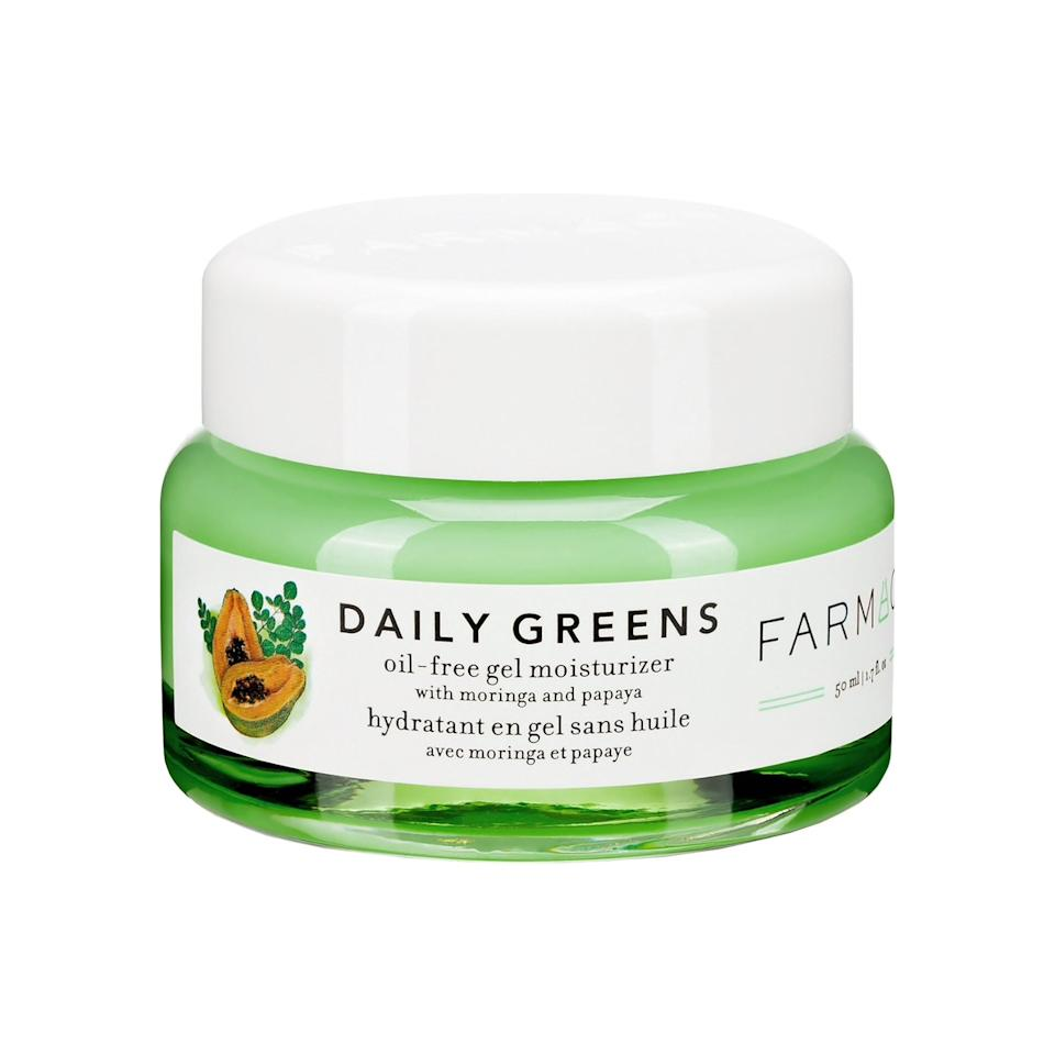 """<h3>Farmacy Daily Greens Oil-Free Gel Moisturizer with Moringa and Papaya</h3><br>This clean green cream contains papaya and moringa extract to help brighten your complexion while also keeping it clear.<br><br><strong>Farmacy</strong> Daily Greens Oil-Free Gel Moisturizer with Moringa and, $, available at <a href=""""https://go.skimresources.com/?id=30283X879131&url=https%3A%2F%2Fwww.sephora.com%2Fca%2Fen%2Fproduct%2Ffarmacy-daily-greens-oil-free-gel-moisturizer-with-moringa-papaya-P458209%3Ficid2%3Dproducts%2520grid%3Ap458209%3Aproduct"""" rel=""""nofollow noopener"""" target=""""_blank"""" data-ylk=""""slk:Sephora"""" class=""""link rapid-noclick-resp"""">Sephora</a>"""