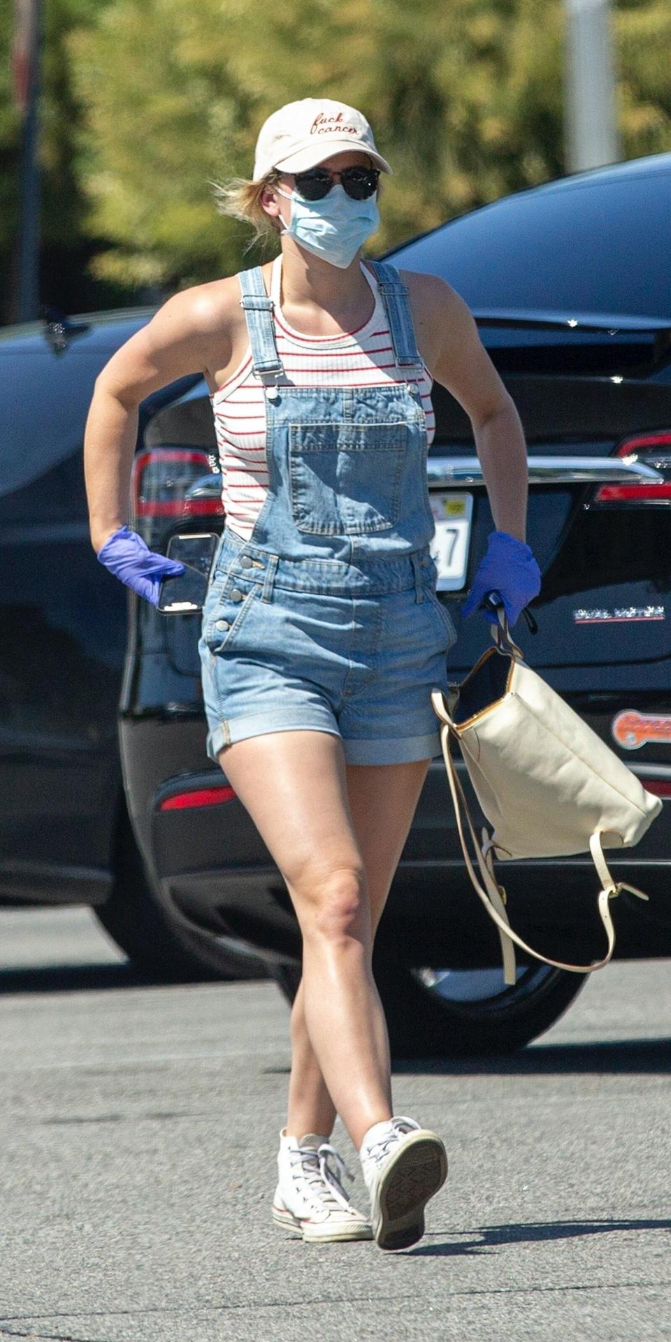 """<p>Okay, so Lili Reinhart may be onto something with her short denim overalls look (<strong>Shop similar:</strong> $98; <a href=""""https://click.linksynergy.com/deeplink?id=93xLBvPhAeE&mid=42352&murl=https%3A%2F%2Fwww.shopbop.com%2Fvintage-shortall-levis%2Fvp%2Fv%3D1%2F1561216336.htm%3F&u1=IS%2CLiliReinhart%2Canesta%2C%2CIMA%2C3545505%2C202005%2CI"""" rel=""""nofollow noopener"""" target=""""_blank"""" data-ylk=""""slk:shopbop.com"""" class=""""link rapid-noclick-resp"""">shopbop.com</a>). Overalls are more structured than sweats but definitely not as restricting as jeans. Plus, they're practically the official uniform of crafting or gardening, which is all most of us are doing anyway. </p>"""