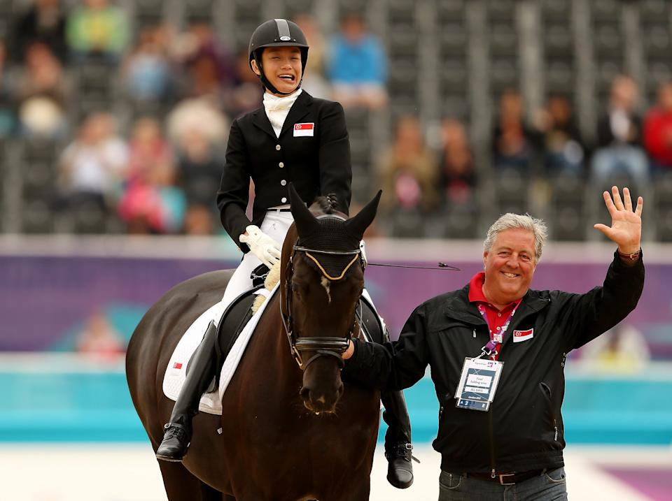 Laurentia Tan of Singapore during the dressage individual test at the 2012 London Paralympics.