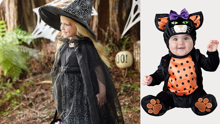 Sibling Halloween costumes: A cat and a witch