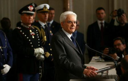 Italian President Sergio Mattarella speaks to the media at the Quirinal Palace in Rome