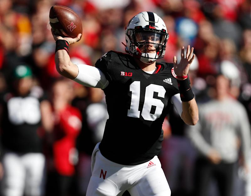 Nebraska quarterback Noah Vedral (16) throws against the Indiana Hoosiers in the first half at Memorial Stadium during the 2019 season.