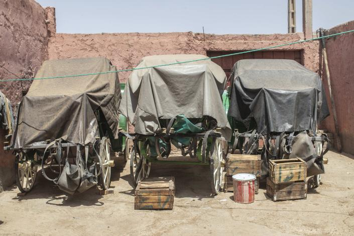 Empty horse-drawn carriages are covered in a stable in Marrakech, Morocco, Wednesday, July 22, 2020. Morocco's restrictions to counter the coronavirus pandemic have taken a toll on the carriage horses in the tourist mecca of Marrakech. (AP Photo/Mosa'ab Elshamy)