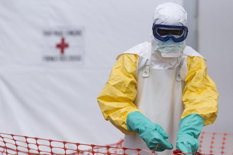 A health worker wearing personal protective equipment works at the Ebola treatment center in Macenta in Guinea on November 20, 2014 (AFP Photo/Kenzo Tribouillard)