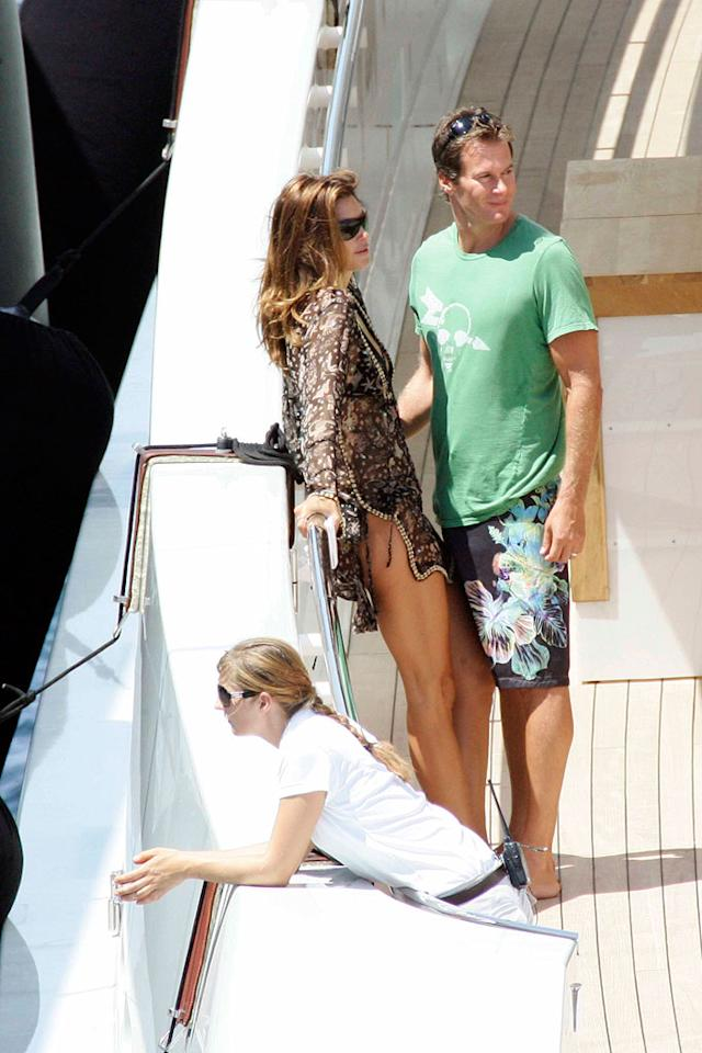 """Cindy Crawford and husband Rande Gerber live the life of luxury aboard a yacht in St. Tropez. Ciao Pix/<a href=""""http://www.infdaily.com"""" target=""""new"""">INFDaily.com</a> - August 5, 2008"""