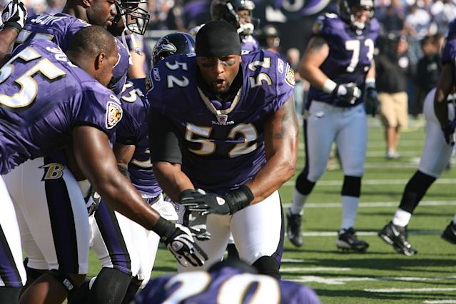 BALTIMORE - SEPTEMBER 16: Linebacker Ray Lewis #52 of the Baltimore Ravens fires up his teammates against the New York Jets at M&T Bank Stadium in Baltimore, Maryland. The Ravens won 20-13. (Photo by Al Pereira/Getty Images)