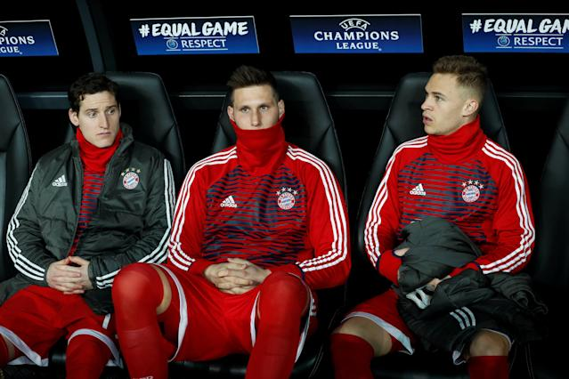 Soccer Football - Champions League Round of 16 Second Leg - Besiktas vs Bayern Munich - Vodafone Arena, Istanbul, Turkey - March 14, 2018 Bayern Munich substitutes Sebastian Rudy, Niklas Sule and Joshua Kimmich on the bench before the match REUTERS/Murad Sezer