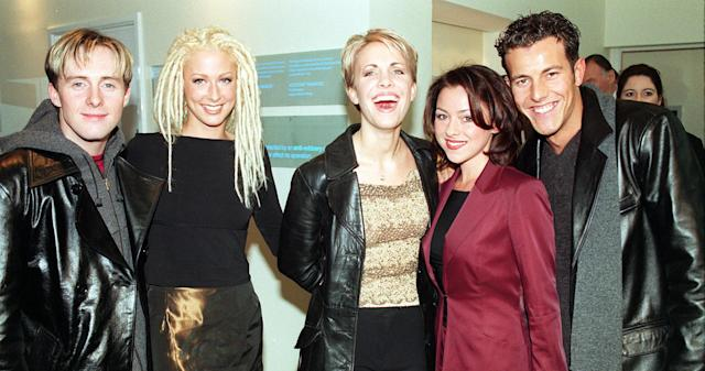Faye Tozer (second from the left) with her Steps band mates in 1998. (PA Images)