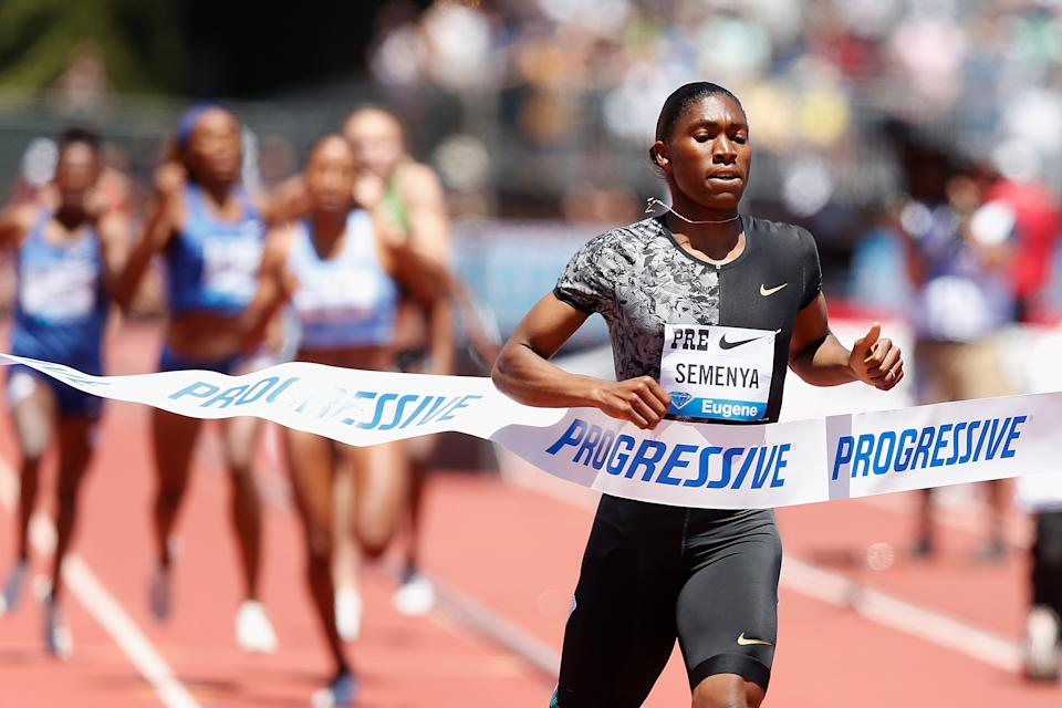 STANFORD, CALIFORNIA - JUNE 30: Caster Semenya of South Africa races to the finish line to win the women's 800m during the Prefontaine Classic at Cobb Track & Angell Field on June 30, 2019 in Stanford, California. (Photo by Lachlan Cunningham/Getty Images)