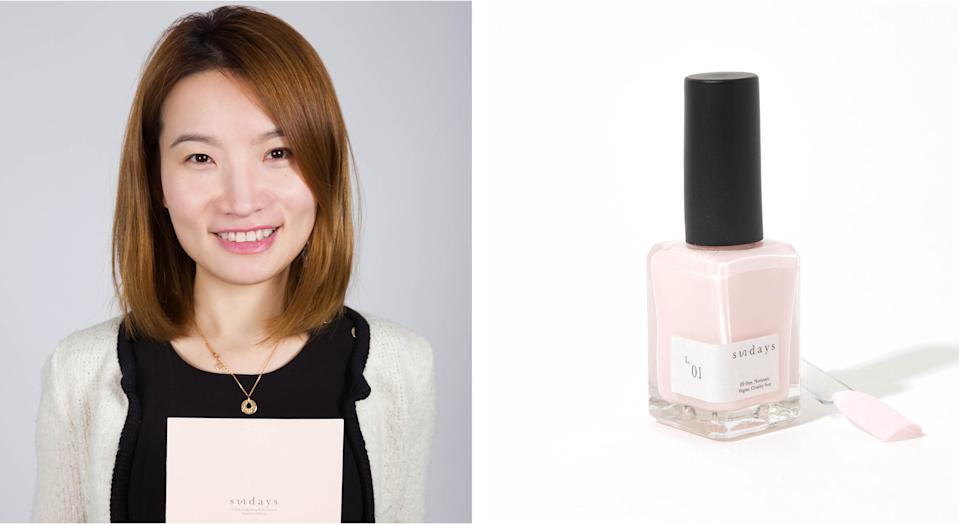 """<h1 class=""""title"""">Sundays founder Amy Lin and L.01 nail polish.jpg</h1><cite class=""""credit"""">Courtesy of brand</cite>"""