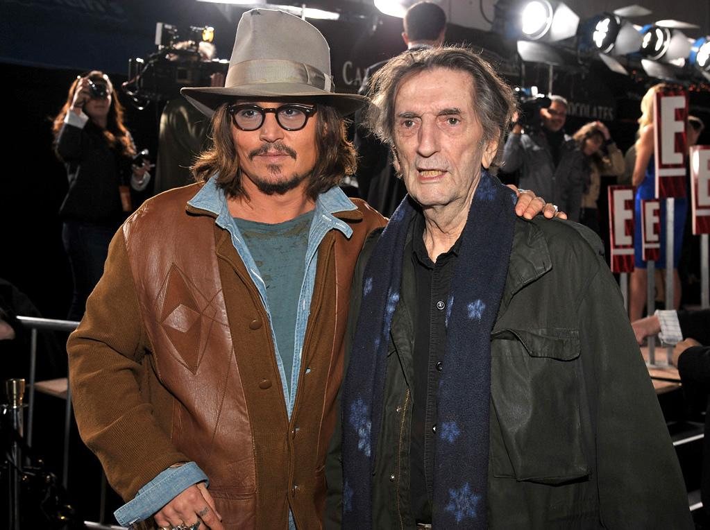 """<a href=""""http://movies.yahoo.com/movie/contributor/1800019485"""">Johnny Depp</a> and <a href=""""http://movies.yahoo.com/movie/contributor/1800011758"""">Harry Dean Stanton</a> attends the Los Angeles premiere of <a href=""""http://movies.yahoo.com/movie/1810079248/info"""">Rango</a> on February 14, 2011."""