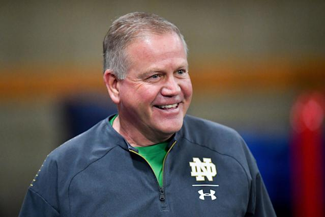 Mar 20, 2019; Notre Dame, IN, USA; Notre Dame Fighting Irish head coach Brian Kelly smiles during Notre Dame Pro Day at the Loftus Center. (USA TODAY Sports)