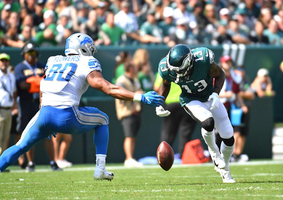 Nelson Agholor's two drops in Sunday's game were on the minds of every Eagles fan — even those performing acts of heroism. (Eric Hartline-USA TODAY Sports)