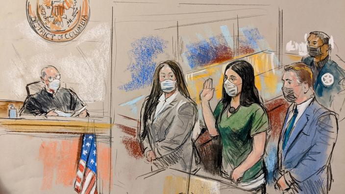 Emma Coronel Aispuro appears in federal court in Washington, D.C., on Thursday, June 10, 2021. / Credit: William J. Hennessy, Jr.