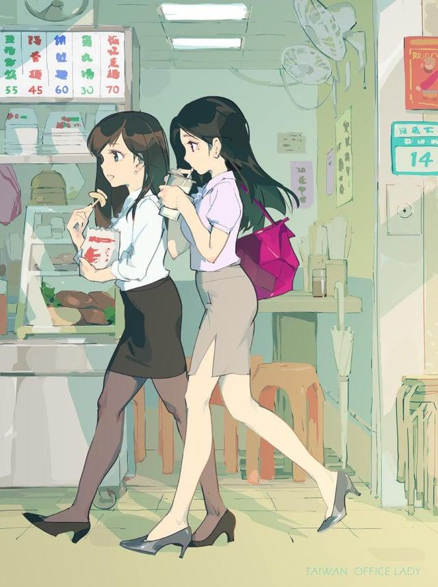 The cartoon shows two Taiwanese office ladies trying to decide what to eat for lunch. (Photo courtesy of @u/AustinYaoChen/Reddit)