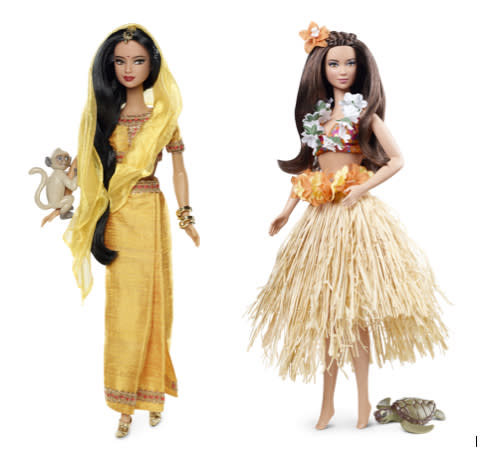 """<div class=""""caption-credit"""">Photo by: Mattel.com</div><b><div class=""""caption-title"""">India Barbie and Hawaii Barbie</div></b>Critics say that much of the """"traditional"""" clothing is more cliched than culturally accurate. The 2012 India Barbie (left) wears a saffron-colored sari and has a monkey clinging to one arm. Hawaiian Barbie wears a grass skirt and has a tiny sea turtle but no Hawaiian facial features (or shoes, even though she has classic Barbie feet)."""
