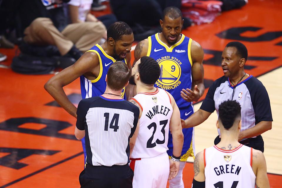 Kevin Durant #35 of the Golden State Warriors and Fred VanVleet #23 of the Toronto Raptors exchange words after a foul call in the first half during Game Five of the 2019 NBA Finals at Scotiabank Arena on June 10, 2019 in Toronto, Canada. (Photo by Vaughn Ridley/Getty Images)