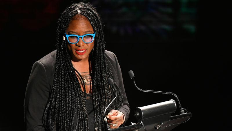 """Alicia Garza speaks onstage as Audible presents: """"In Love and Struggle"""" at Audible's Minetta Lane Theater on February 29, 2020, in New York City."""