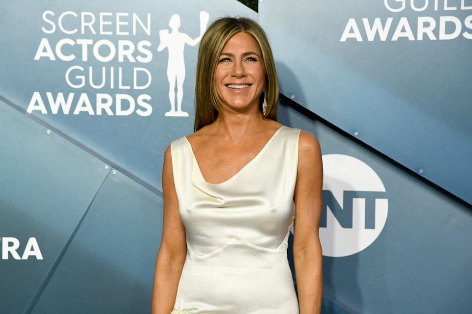 LOS ANGELES, CALIFORNIA - JANUARY 19: Jennifer Aniston  attends the 26th Annual Screen Actors Guild Awards at The Shrine Auditorium on January 19, 2020 in Los Angeles, California. (Photo by Jeff Kravitz/FilmMagic)