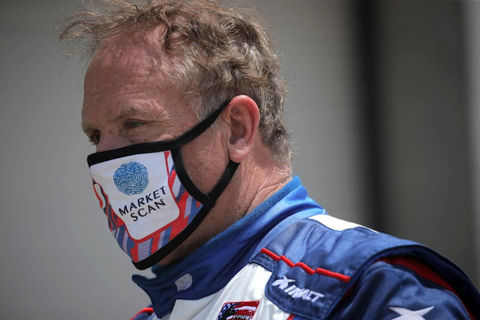 INDIANAPOLIS, INDIANA - JULY 03:  Mike Wallace, driver of the #0 Market Scan Chevrolet, stands in the garage area during practice for the NASCAR Xfinity Series Pennzoil 150 at the Brickyard at Indianapolis Motor Speedway on July 03, 2020 in Indianapolis, Indiana. (Photo by Chris Graythen/Getty Images)