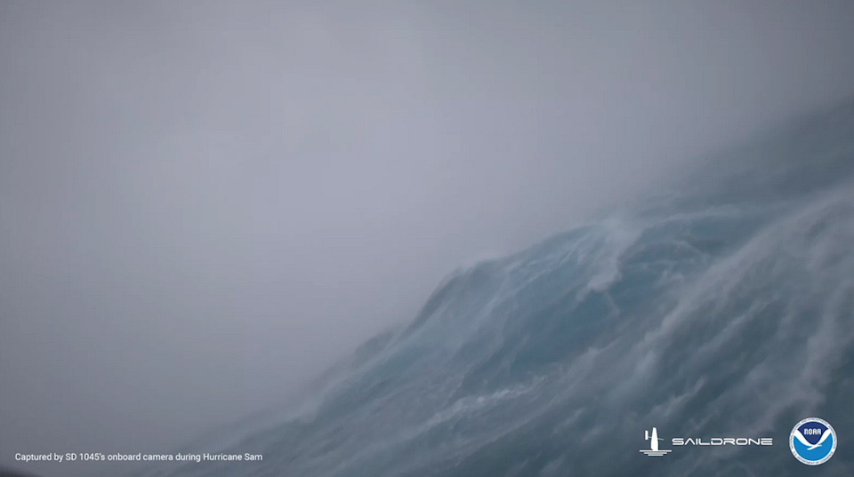 A drone captured footage directly from Hurricane Sam's eye (Saildrone)