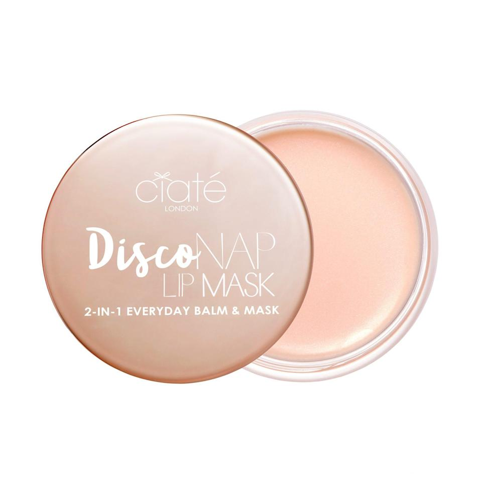 """<p>Dab this shea-butter balm on dry lips during the day, then slather it on at night to heal flaking and peeling.</p> <p><strong>Buy It! </strong><a href=""""https://us.ciatelondon.com/products/disco-nap-lip-mask"""" rel=""""nofollow noopener"""" target=""""_blank"""" data-ylk=""""slk:Ciaté London Disco Nap, $18; us.ciatelondon.com"""" class=""""link rapid-noclick-resp"""">Ciaté London Disco Nap, $18; us.ciatelondon.com</a></p>"""