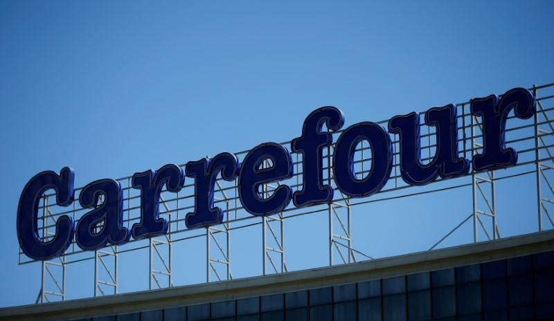 FILE PHOTO: Logo of France-based food retailer Carrefour is seen on roof of Tbilisi Mall in Tbilisi