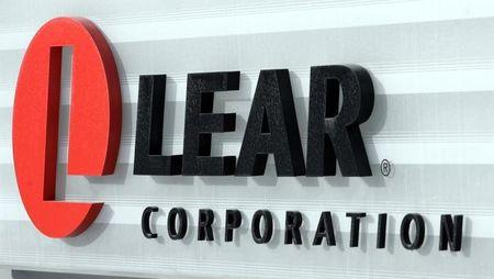 The sign in front of the headquarters of Lear Corp., an auto parts maker, is seen in Southfield, Michigan