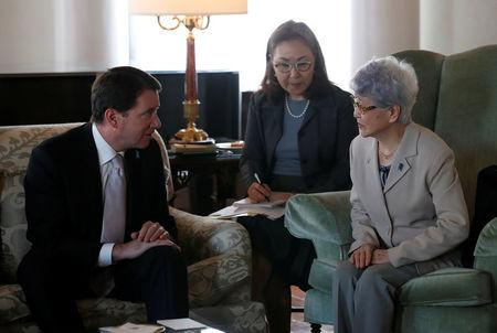 Sakie Yokota (R), mother of Megumi Yokota who was abducted by North Korea agents at age 13 in 1977, meets U.S. ambassador to Japan William Hagerty in Tokyo, Japan, April 10, 2018. REUTERS/Kim Kyung-Hoon
