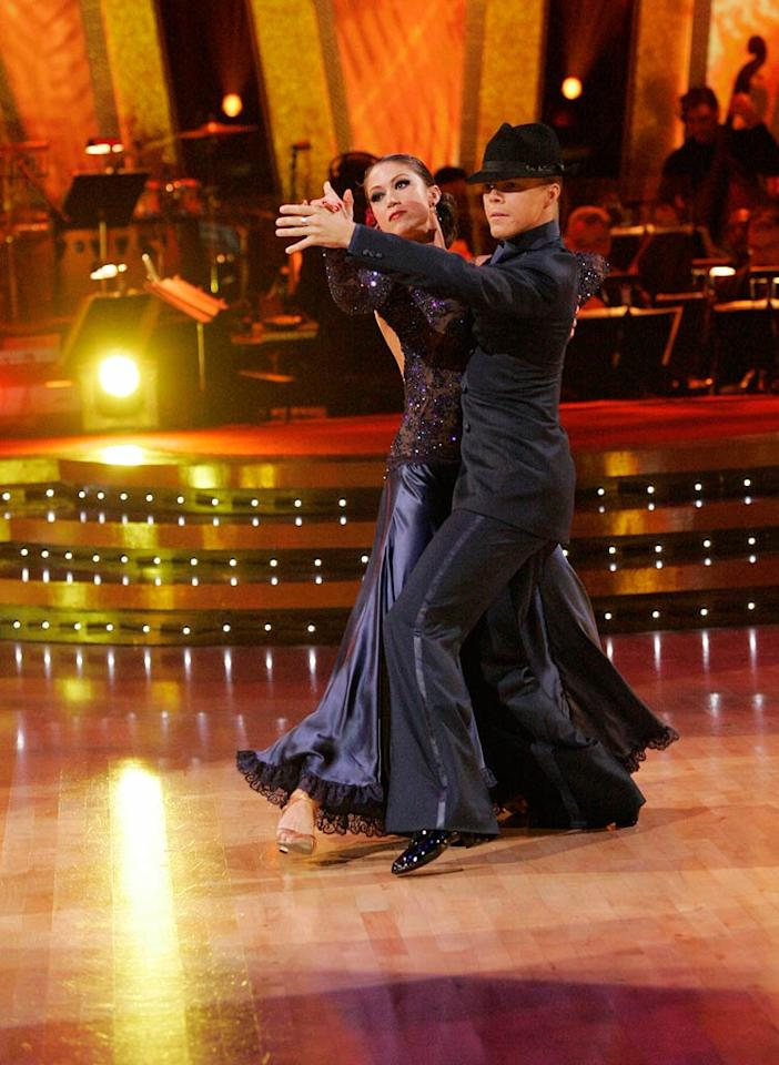 Derek Hough and Shannon Elizabeth perform a dance on the sixth season of Dancing with the Stars.