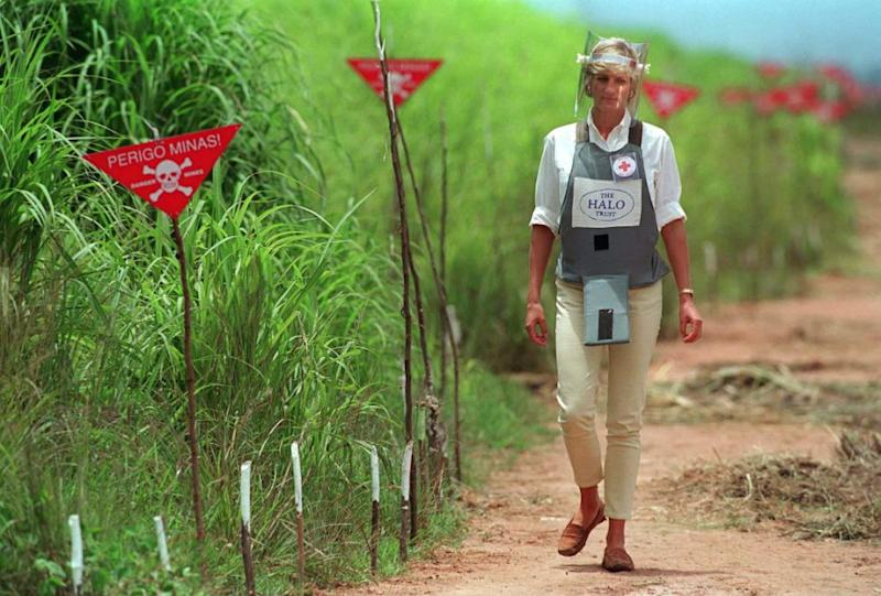 Diana was photographed in this iconic moment in Angola, just months before her death. Photo: Getty