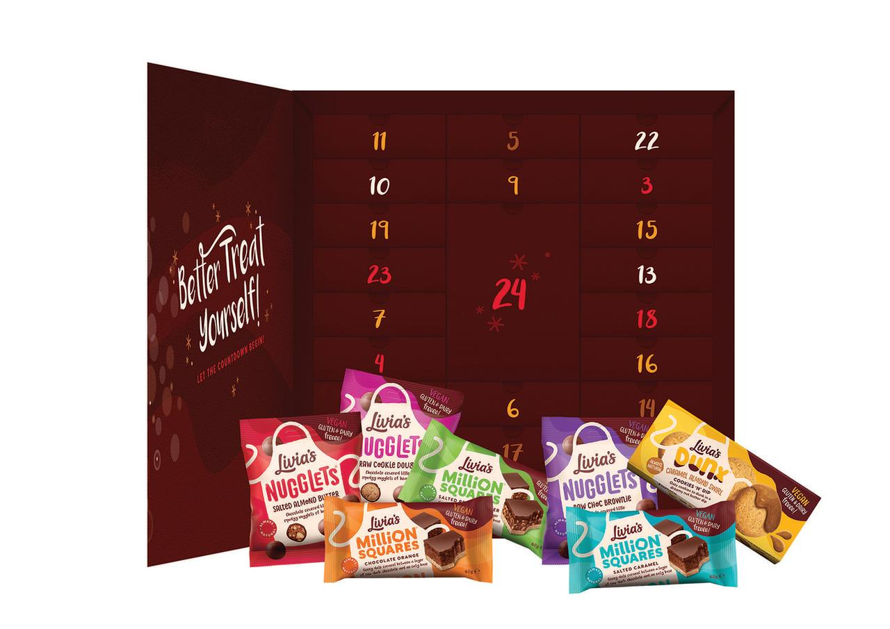 """<p>The most divine free-from sweet treats you ever did see. Now you can sample the whole of Livia's range every day of December. Well, we do like the sound of that. What's more, they are completely vegan friendly! Be quick though, these are selling like hot cakes! </p><p><a class=""""body-btn-link"""" href=""""https://go.redirectingat.com?id=127X1599956&url=https%3A%2F%2Fwww.selfridges.com%2FGB%2Fen%2Fcat%2Flivias-indulgence-with-bells-on-2019-advent-calendar_576-3003987-LIVI000034%2F%3F_%2524ja%3Dtsid%253A32619%257Cprd%253A201309%26cm_mmc%3DAFFIL-_-AWIN-_-201309-_-0RpXOIXA500%26awc%3D3539_1571390012_db0606937d3285e51a49935774de532a&sref=http%3A%2F%2Fwww.delish.com%2Fuk%2Ffood-news%2Fg29513105%2Ffood-advent-calendars%2F"""" target=""""_blank"""">BUY NOW</a> <strong>£39.99, Selfridges </strong></p>"""