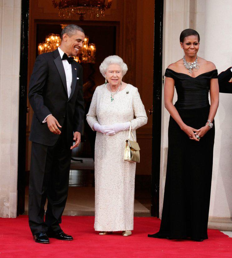 <p>Michelle Obama wearing Ralph Lauren in London with the Queen, 2011. (Photo: Getty Images)</p>