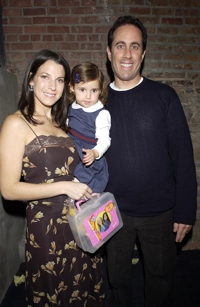 Sascha with mum, Jessica and dad, Jerry Seinfeld as a baby. Photo: Getty Images