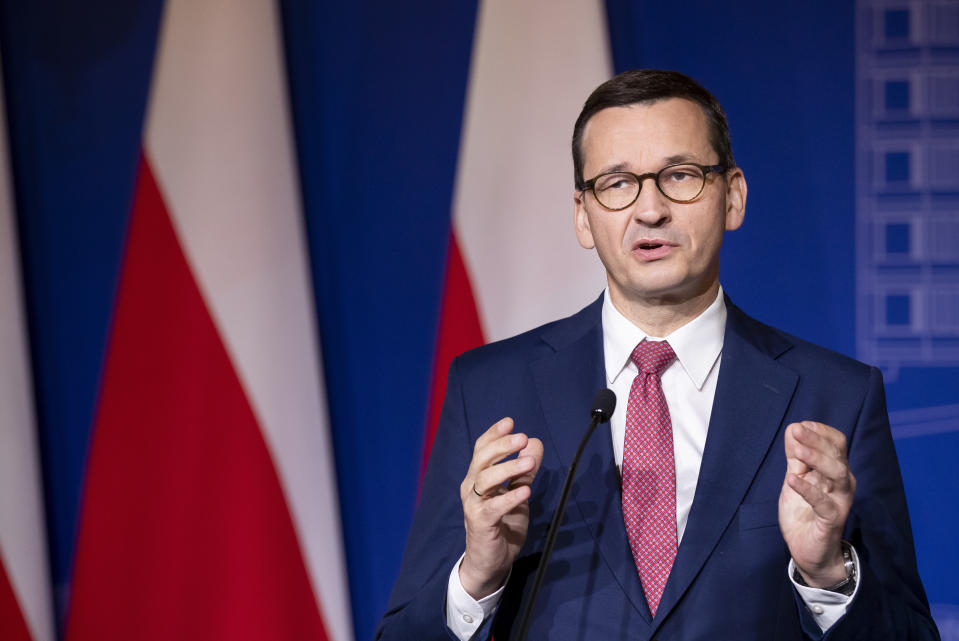 FILE - In this Sept. 17, 2020 file photo, Poland's Prime Minister Mateusz Morawiecki speaks during a news conference following joint meetings of the government of the Lithuania and the government of the Poland at the Palace of the Grand Dukes of Lithuania in Vilnius, Lithuania. An official with Poland's conservative governing party said Friday, Sept. 18, 2020, that the the country's right-wing coalition government has collapsed. (AP Photo/Mindaugas Kulbis, file)