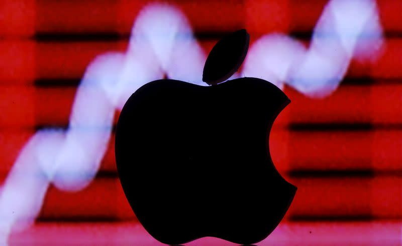 FILE PHOTO: Picture illustration of a 3D printed Apple logo in front of a displayed stock graph
