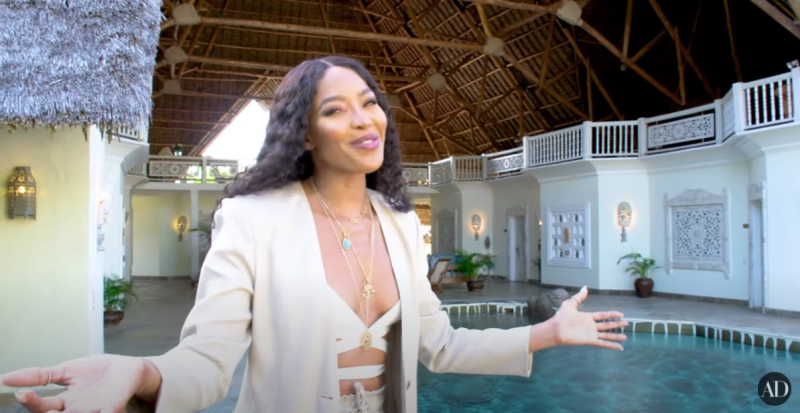 Naomi Campbell in her Malindi, Kenya Villa for the May Issue of Architectural Digest.