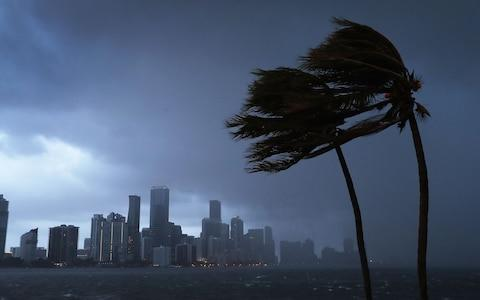 The skyline is seen as the outerbands of Hurricane Irma start to reach Florida on September 9, 2017 in Miami, Florida. Florida is in the path of the Hurricane which may come ashore at category 4. - Credit: Getty