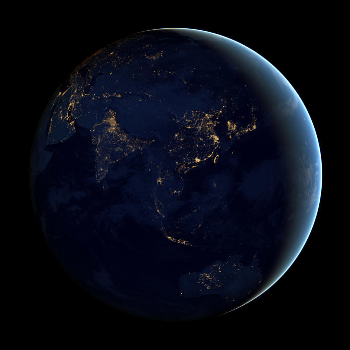 This image of Asia and Australia at night is a composite assembled from data acquired by the Suomi NPP satellite in April and October 2012. The new data was mapped over existing Blue Marble imagery of Earth to provide a realistic view of the planet. (NASA)