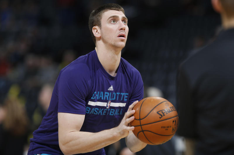 Charlotte Hornets forward Tyler Hansbrough (50) during the first half of an NBA basketball game Sunday, Jan. 10, 2016, in Denver. (AP Photo/David Zalubowski)