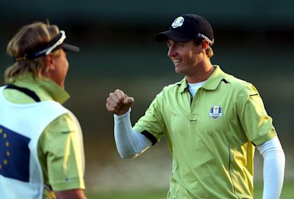 Nicolas Colsaerts upstaged Woods in the afternoon fourball match. (Getty Images)