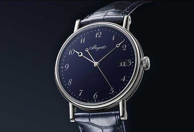 """<p>Classique 5177 'Grand Feu' Blue Enamel</p><p><a class=""""link rapid-noclick-resp"""" href=""""https://www.watches-of-switzerland.co.uk/c/Brands/Breguet/filter/Page_1/Sort_latest-additions/"""" rel=""""nofollow noopener"""" target=""""_blank"""" data-ylk=""""slk:SHOP"""">SHOP </a></p><p>Available for the first time in a 'Grand Feu' enamel, this peerless dress watch has been rigorously thought-out. To ensure ease of readability, the moon-tipped hands are made of rhodium-plated steel, while the Arabic numerals, stars, diamond shapes and fleur-de-lis on the chapter ring are silvered and larger than normal. A fantastic piece. <br></p><p>£19,600;<a href=""""https://www.breguet.com/en"""" rel=""""nofollow noopener"""" target=""""_blank"""" data-ylk=""""slk:breguet.com"""" class=""""link rapid-noclick-resp""""> breguet.com </a><br></p>"""