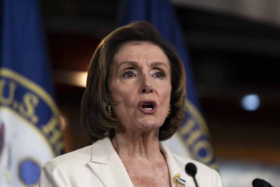 """House Speaker Nancy Pelosi of Calif., speaks during a media availability at the Capitol in Washington, Thursday, June 24, 2021. Pelosi announced on Thursday that she's creating a special committee to investigate the Jan. 6 attack on the Capitol, saying it is """"imperative that we seek the truth."""" (AP Photo/Alex Brandon)"""