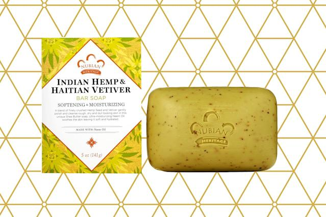 Nubian Heritage Indian Hemp & Haitian Vetiver Bar Soap. (Photos: Nubian Hertiage; Getty Images; Art: Casey Hollister for Yahoo Lifestyle)