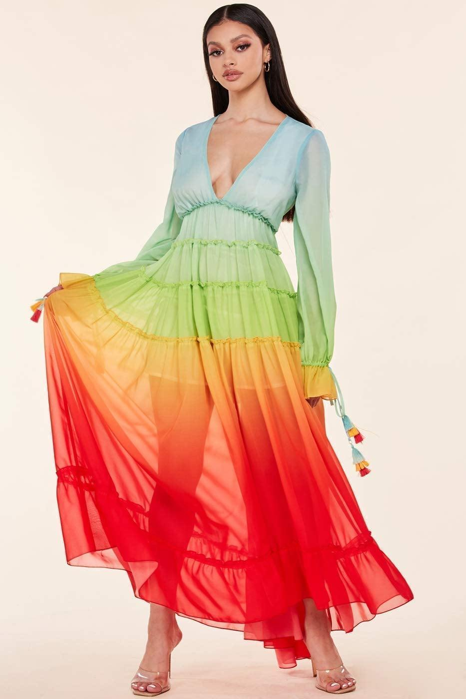 <p>The <span>Mireille Ophelia Rainbow Dress </span> ($129) is a stunning long-sleeve maxi dress that is perfect for spring and summer. </p>