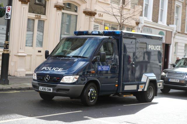 A police van arrives at Westminster Magistrates' Court, where serving police constable Wayne Couzens is to appear charged with the murder of Sarah Everard (Steve Parsons/PA)