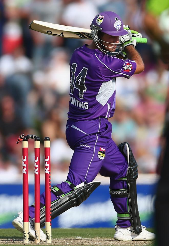 HOBART, AUSTRALIA - DECEMBER 23:  Ricky Ponting of the Hurricanes is bowled by Chris Gayle of the Thunder during the Big Bash League match between the Hobart Hurricanes and the Sydney Thunder at Blundstone Arena on December 23, 2012 in Hobart, Australia.  (Photo by Robert Cianflone/Getty Images)